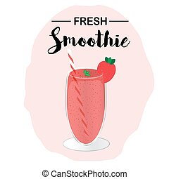 A glass of strawberry smoothie. Vector illustration