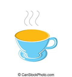 A glass of strong invigorating aromatic quick espresso americano in a ceramic cup with a handle icon on a white background. Vector illustration