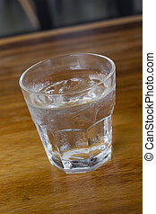 A glass of water with ice.