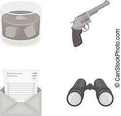 A glass of whiskey, a gun, binoculars, a letter in an envelope. Detective set collection icons in monocrome style vector symbol stock illustration .