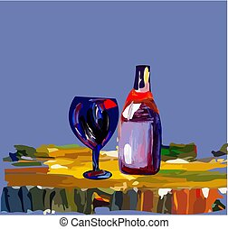 a glass with a bottle of wine on the table