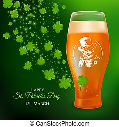 A glass with a pint of light beer decorated with the label of a smoking leprechaun and shamrock leaves. 3D realistic vector illustration to St. Patrick's Day celebrating on a dark green background