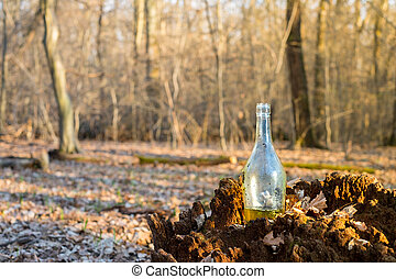 a glass with a yellow liquid on a stump in the forest