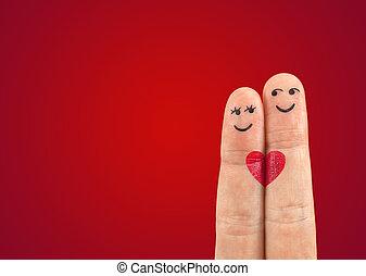 a, glatt par, i kärlek, med, målad, smiley, och, krama