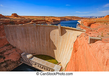 A Glen Canyon dam at Lake Powell, Arizona. USA