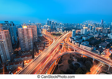 beautiful overpass at the intersection of two viaducts in shanghai
