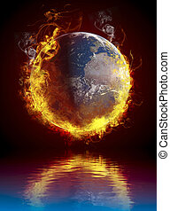 A global warming concept. Planet Earth burning over water ...