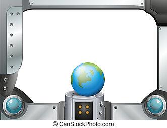 A globe in a metallic frame