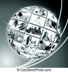 A globe is isolated on a white bac