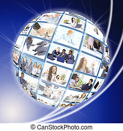 A globe is isolated on background