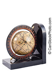 A globe on a bookend isolated