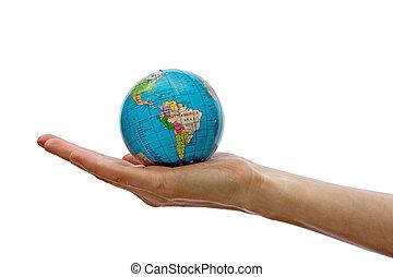 A globe on hand