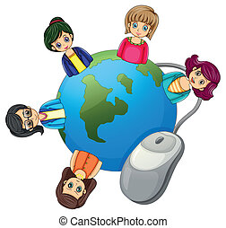 A globe surrounded with businesswomen