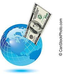 a globe with a dollar bill