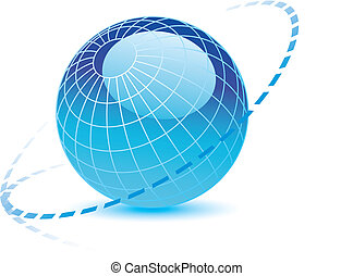 Blue vector globe with a dotted line around it