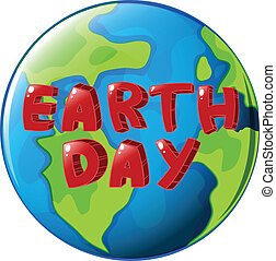 A globe with Earth day label