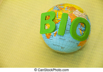 A globe with the word green bio