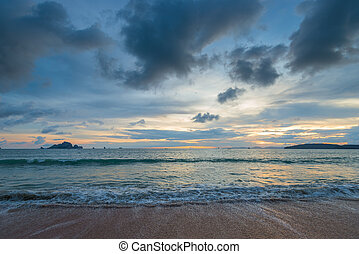 A gloomy sky over the Andaman Sea at sunset hours