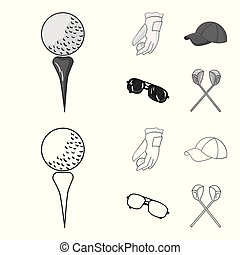 A glove for playing golf with a ball, a red cap, sunglasses, two clubs. Golf Club set collection icons in outline, monochrome style vector symbol stock illustration web.