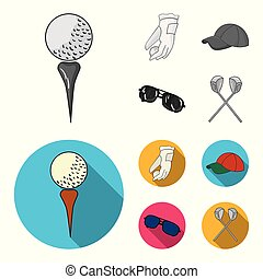 A glove for playing golf with a ball, a red cap, sunglasses, two clubs. Golf Club set collection icons in monochrome, flat style vector symbol stock illustration web.