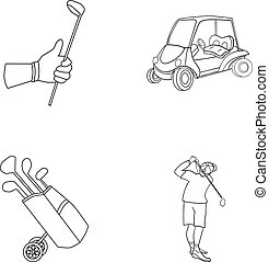 A gloved hand with a stick, a golf cart, a trolley bag with sticks in a bag, a man hammering with a stick. Golf Club set collection icons in outline style vector symbol stock illustration web.
