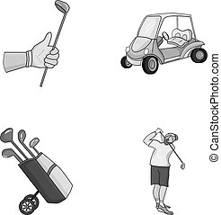 A gloved hand with a stick, a golf cart, a trolley bag with sticks in a bag, a man hammering with a stick. Golf Club set collection icons in monochrome style vector symbol stock illustration web.