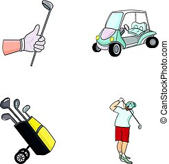 A gloved hand with a stick, a golf cart, a trolley bag with sticks in a bag, a man hammering with a stick. Golf Club set collection icons in cartoon style vector symbol stock illustration web.