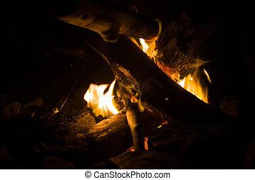 beach bonfire on summer night