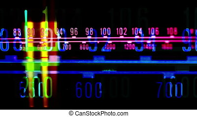 a glowing radio with the marker running through the...