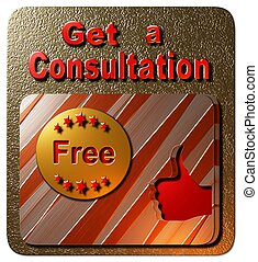 Get a Consultation Free - A gold and red square seal...