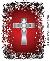 A gold cross on a christmas background