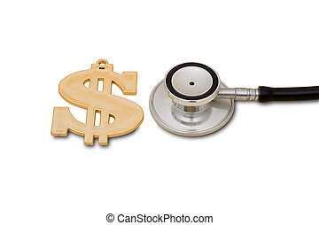 Healthcare Costs - A gold dollar symbol and a stethoscope...