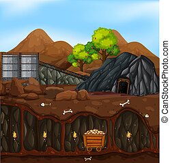 A gold mine landscape illustration