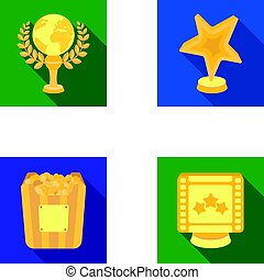 A gold prize in the form of a star, a gold globe and other prizes.Movie awards set collection icons in flat style vector symbol stock illustration web.