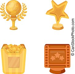 A gold prize in the form of a star, a gold globe and other prizes.Movie awards set collection icons in cartoon style vector symbol stock illustration web.