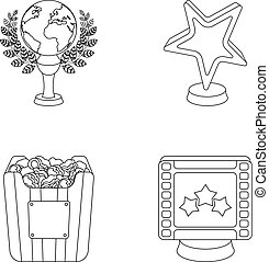 A gold prize in the form of a star, a gold globe and other prizes.Movie awards set collection icons in outline style vector symbol stock illustration web.