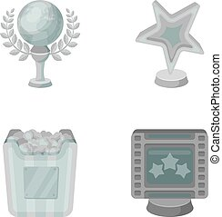 A gold prize in the form of a star, a gold globe and other prizes.Movie awards set collection icons in monochrome style vector symbol stock illustration web.