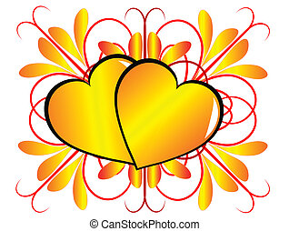 A gold Valentines hearts vector background