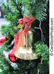 Golden bell on the Christmas tree