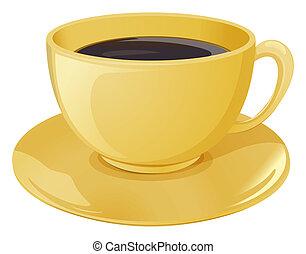 A golden cup with a dark coffee