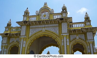 A golden display of an Indian religious landmark - A low...