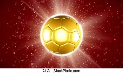 A golden football flag that spins. 4K Video Animation.