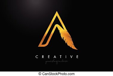 A Golden Gold Feather Letter Logo Icon Design With Feather Feathers Creative Look Vector Illustration