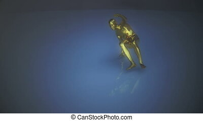 A golden human form performs a dance then deflates. - A...