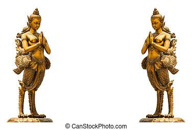 A Golden Kinnari statue
