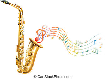 Illustration of a golden saxophone with musical notes on a white background
