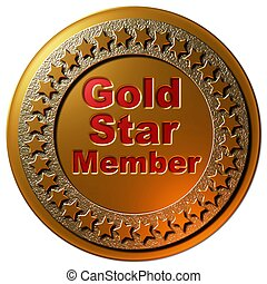 "A Golden seal and red lettering ""Gold Star Member"" with a circle of stars on a gold background"
