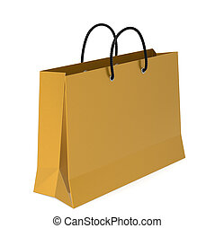 Shopping Bag - A Golden Shopping Bag. White Background.