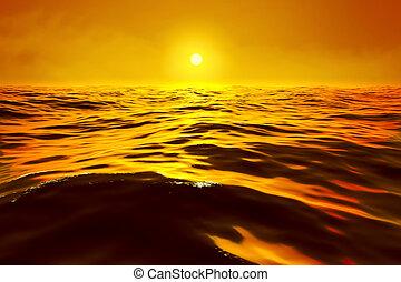 a golden sunset over the ocean