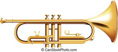 A golden trumpet - Illustration of a golden trumpet on a...